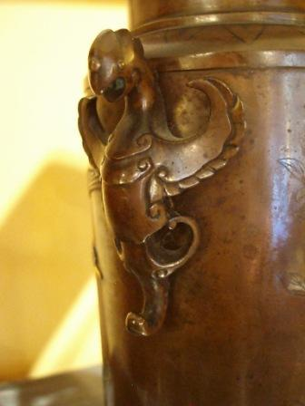 Japanese bronze Urn mounted as a Lamp Lighting Jacques Antiques