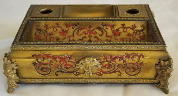 Napoleon III Period Boulle Inkwell with Tortoise Shell Inlay Decor Pieces Jacques Antiques
