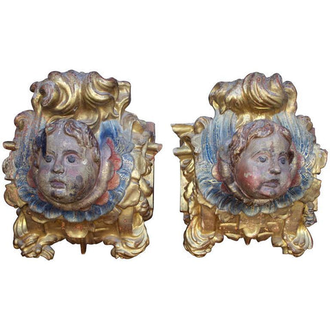Pair of 17th Century Carved Poly-chrome and Gilt wood Architectural Elements Wall Decor Pieces Jacques Antiques