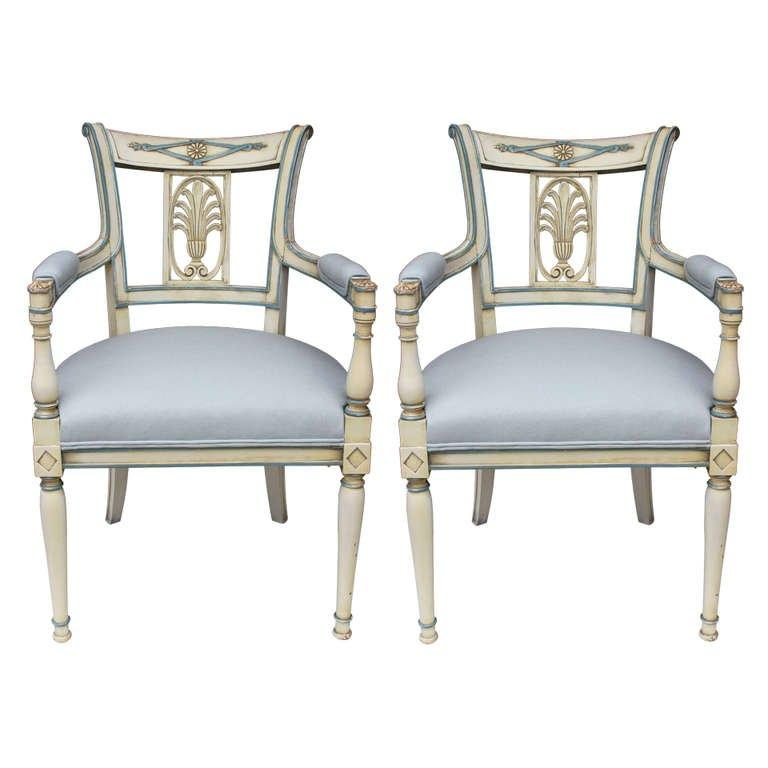 Pair of Directoire Lacquered Armchairs Seating Jacques Antiques