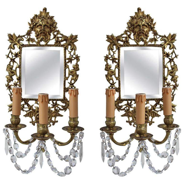 Pair of French 19th Century Bronze Sconce with Mirrors Mirrors Jacques Antiques