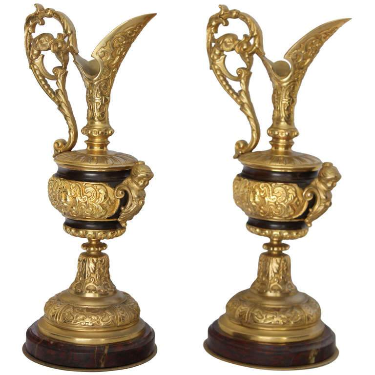 Pair of French Gilded Bronze Ewers Decor Pieces Jacques Antiques