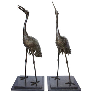 "Pair of Japanese Meiji Period Bronze ""Red Crowned"" Cranes Decor Pieces Jacques Antiques"