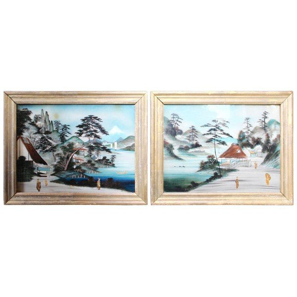 Pair of Japanese Reverse Glass Painting Paintings Jacques Antiques