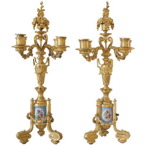 Pair of Napoleon III Period French Ormolu Bronze and Sevres Porcelain Candelabra Lighting Jacques Antiques