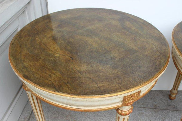 Pair of Painted Louis XVI Style Side Tables Tables Jacques Antiques