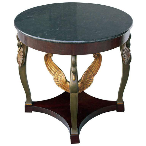 Round Gueridon with Swan Head Baluster Feet Tables Jacques Antiques