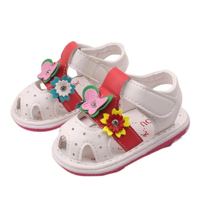 Flat Heel Baby Sandals with Butterfly   Flowers – Aliya s World