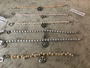 Nance Trueworthy SS Freshwater Pearl Bracelets with Charms, $35 each