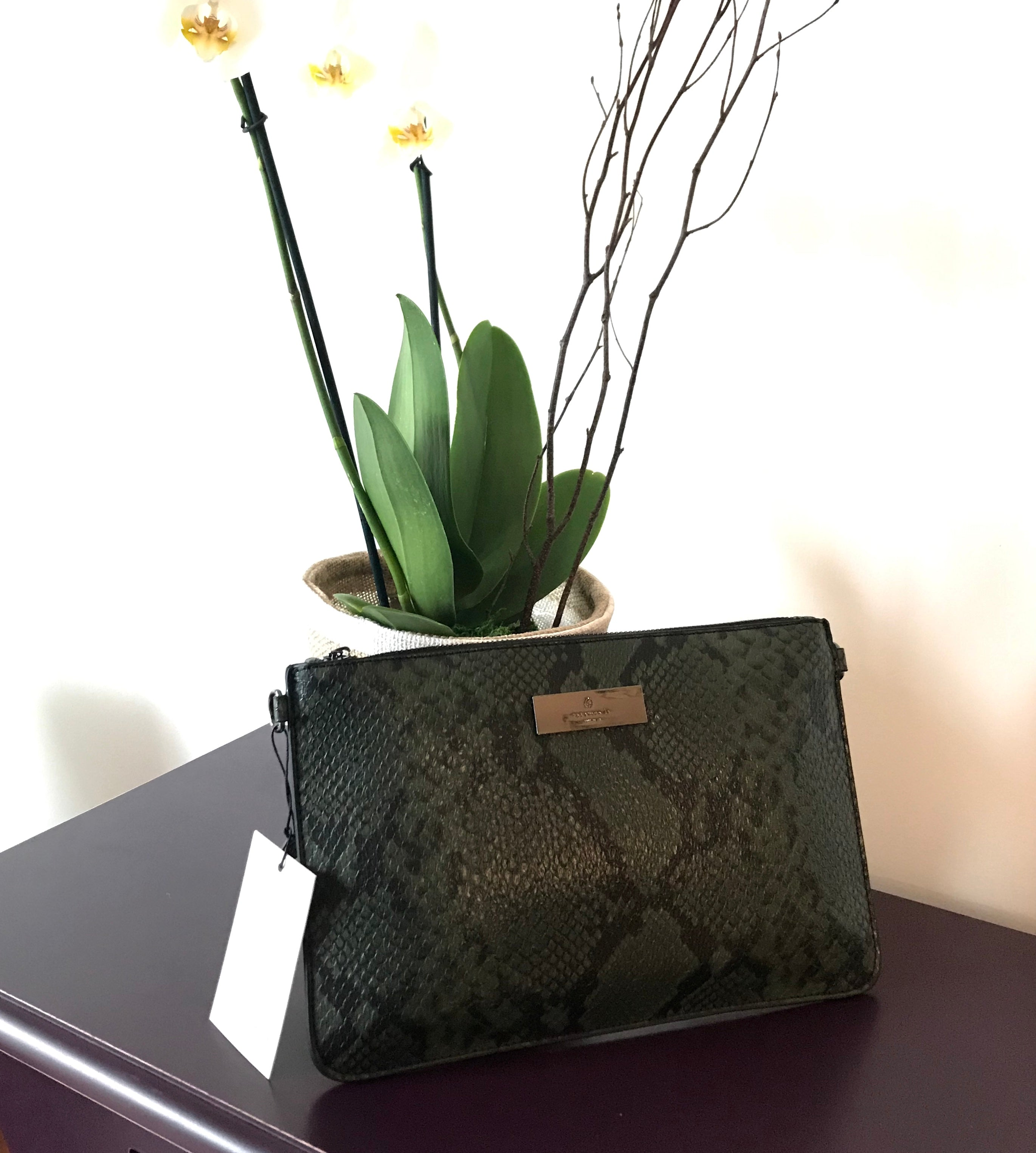 Rosemunde Copenhagen Arezzo Clutch in Black and Green Python Print on Sale