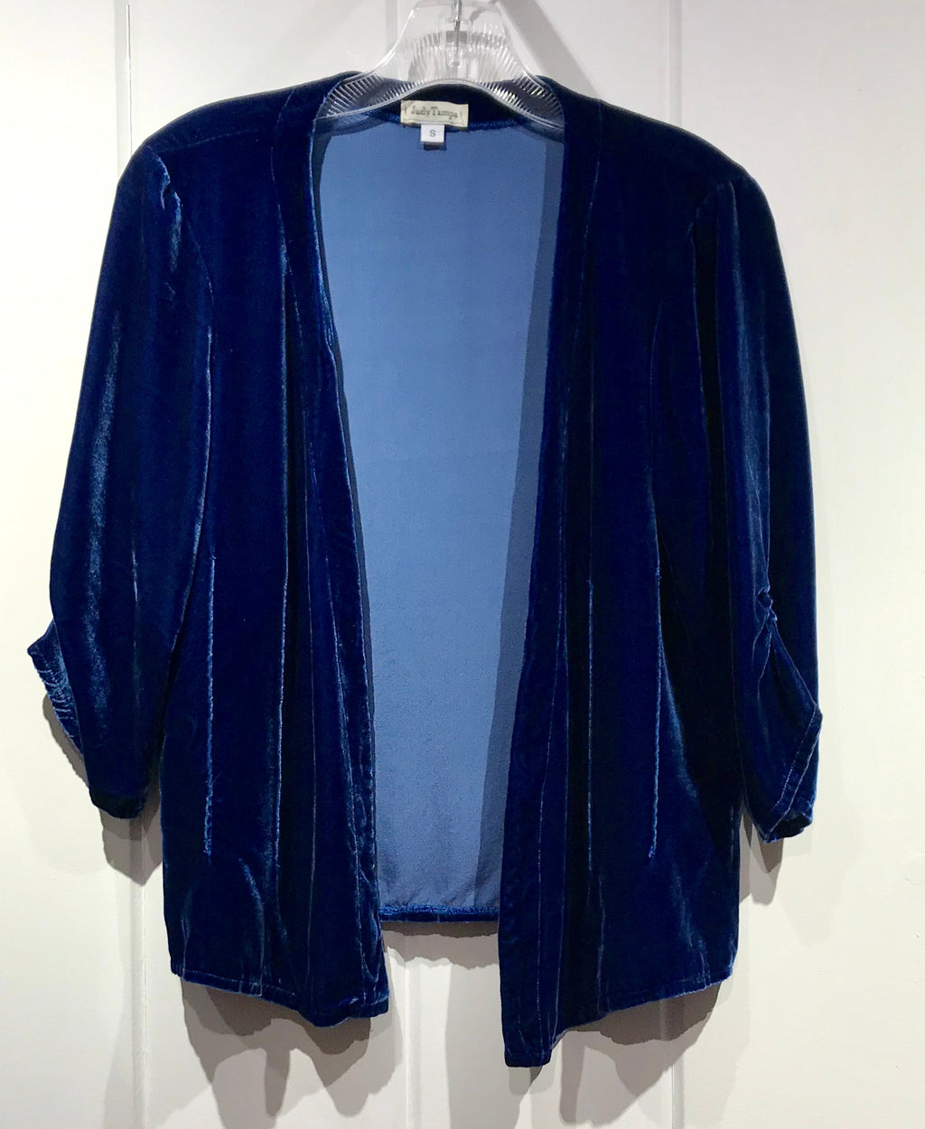 Judy Tampa Velvet Jacket in Indigo in Size S on Sale