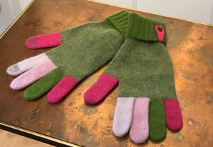 Santacana Madrid Angora Knitted Gloves in Green with Multicolor iTouch Fingers, One Size
