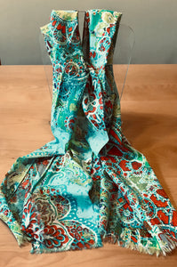 Fraas Cotton Scarf in Turquoise and Multicolor on Sale