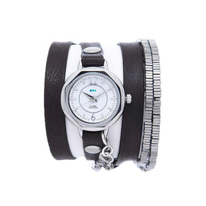 La Mer Collections Highline Wrap Bracelet Watch with Chrome Case, and Black Leather Band with Multiple Hematite Stones