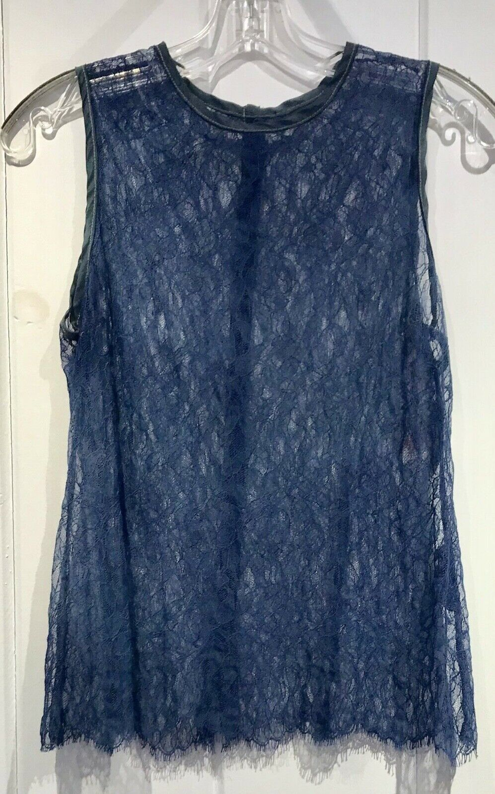 Robin Kaplan Lace Leaves Shell in Blue, Sz 2, on Sale