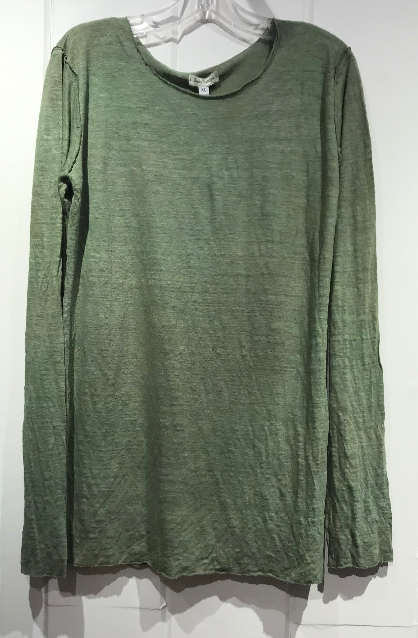 Judy Tampa Linen Knit Pullover in Green in Size XL on Sale