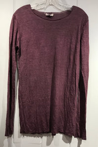 Judy Tampa Linen Knit Pullover in Plum in Size L on Sale