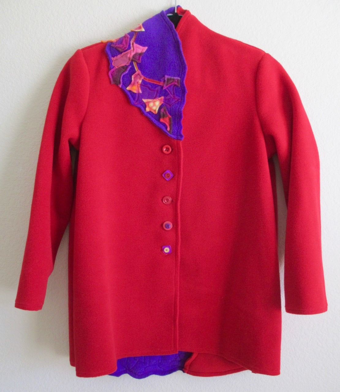Michele Judge L1 Liana Applique with Printed Fleece, Netting and Ribbon in Red in Size S on Sale