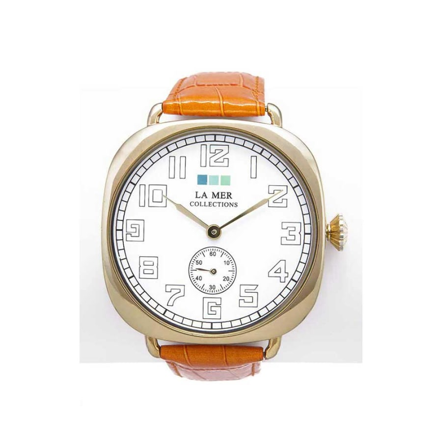 La Mer Collections Oversized Vintage Watch with Gold Case and Italian Leather Orange Band