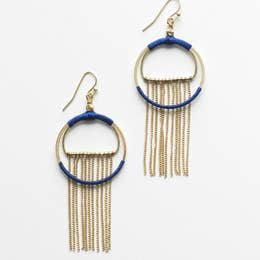 Rover & Kin Silk Wrapped Fringe Earrings