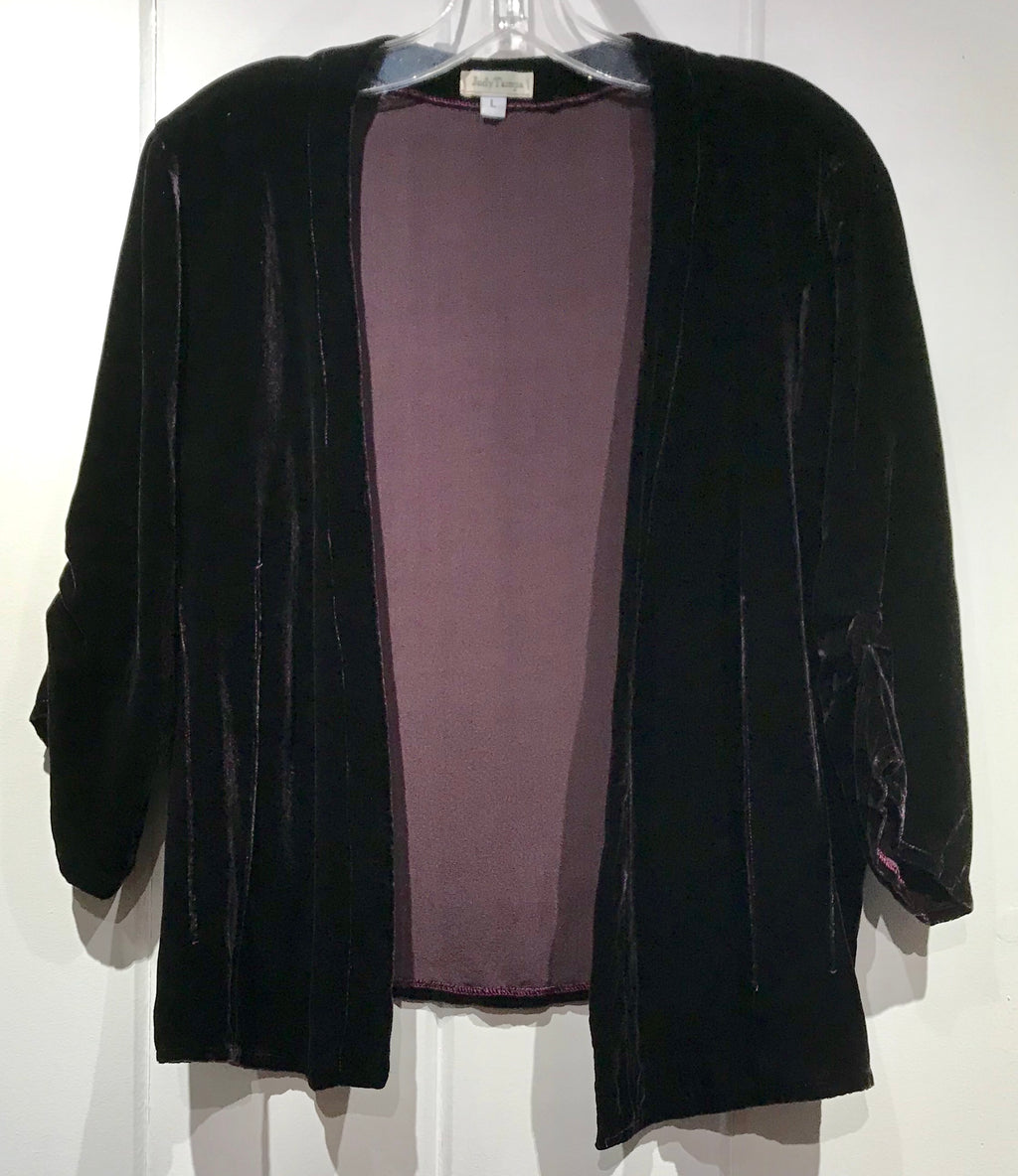 Judy Tampa Velvet Jacket in Plum in Size L on Sale