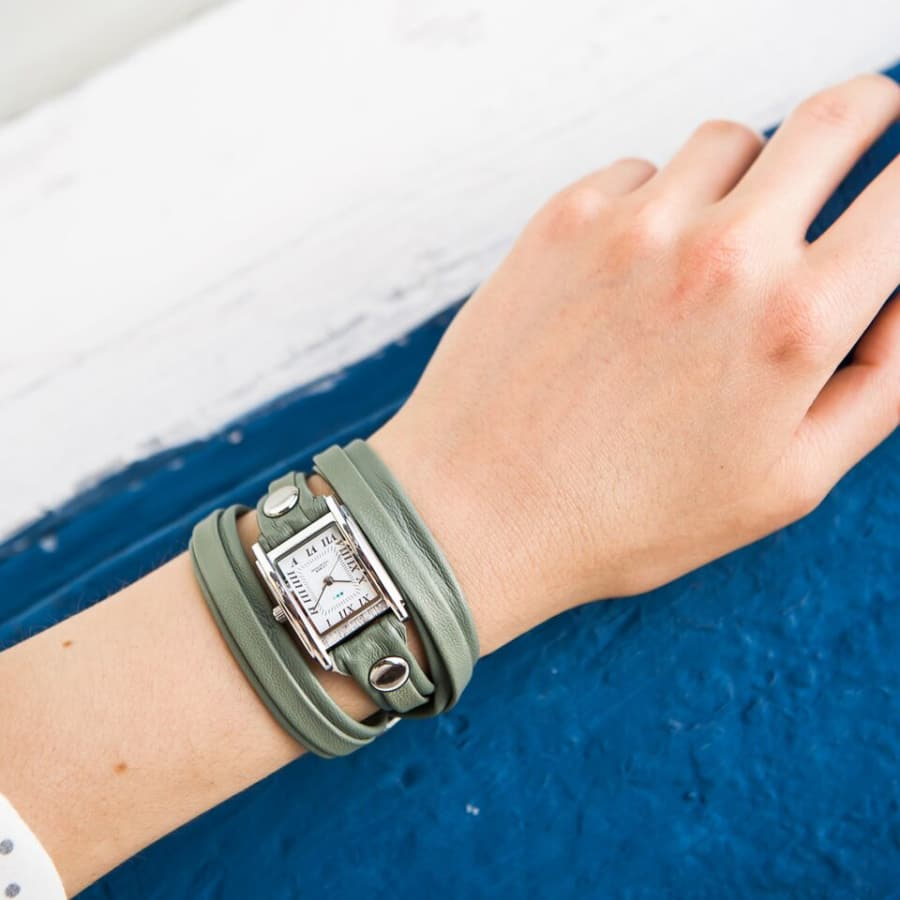 La Mer Collections Wrap Bracelet Watch with Silver Case and Double Layered Extra Long Sage Leather Strap