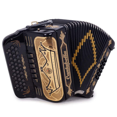 Cantabella Rey II Accordion FBE/EAD 6 Switches Black with Gold Designs