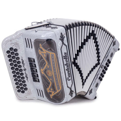 Cantabella Rey II Accordion FBE 5 Switches Pearl White Black Designs