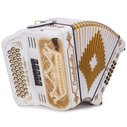 Cantabella Rey II Accordion FBE 5 Switches White with Gold Designs