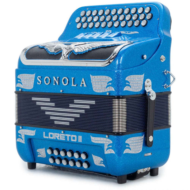 Sonola Loreto II Accordion 5 Switches FBE Blue Glitter with Chrome