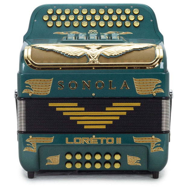 Sonola Loreto II Accordion 5 Switches FBE Green with Gold