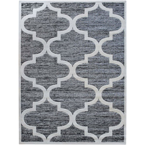 Grey area rug with withe patterns