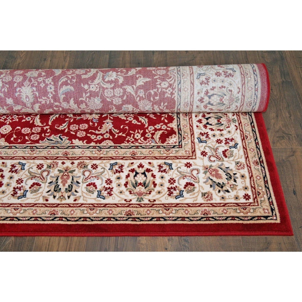 Floral Oriental Area Wool Rug - Red - movaloom
