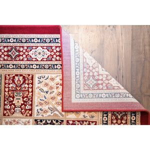 Wool Floral Area Rug Red - movaloom