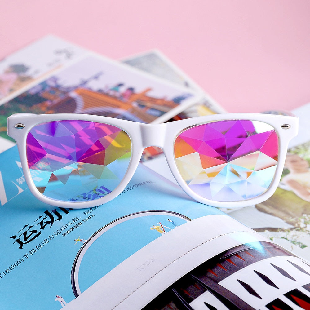 3D Rainbow sunglass Kaleidoscope Glasses Crystal Rave Festival Party EDM Sunglasses Diffracted Multicolor Lens Show