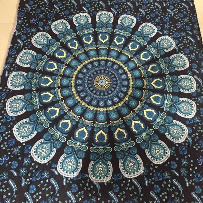 Bohemian Rectangle Hippie Tapestry Beach Throw Roundie Towel Yoga Mat