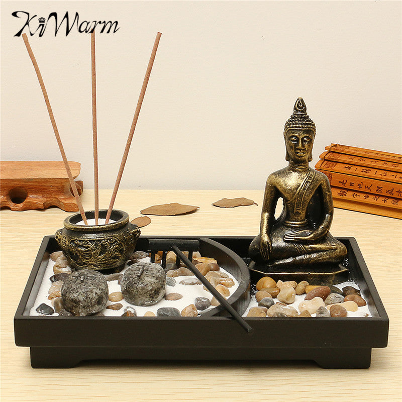 KiWarm Classic Zen Garden Kit Decor Meditation Sand Rocks Incense Candleholder Rake Feng Shui Home Ornament Decorations