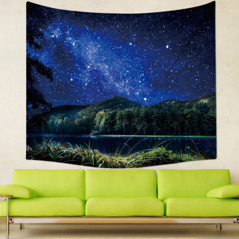 24 Style Psychedelic Forest Trees Starry Tapestry Night Sky Wall Hanging Decorative Polyester Curtains Plus Long Table Cover
