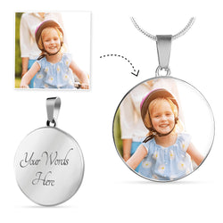 Custom Photo Necklace - Round Photo Charm