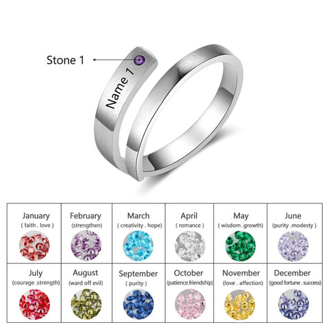 Personalized Engraved Ring with 1 Name and Birthstone