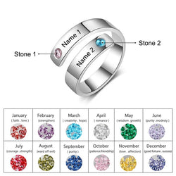 Personalized Engraved Ring with 2 Names and Birthstones