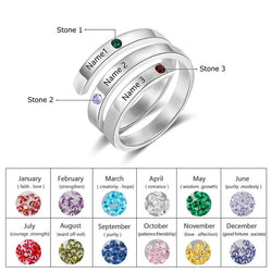 Personalized Engraved Ring with 3 Names and Birthstones