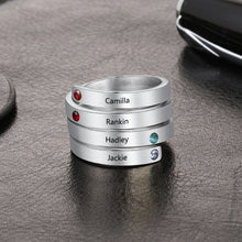 Personalized Engraved Ring with 4 Names and Birthstones