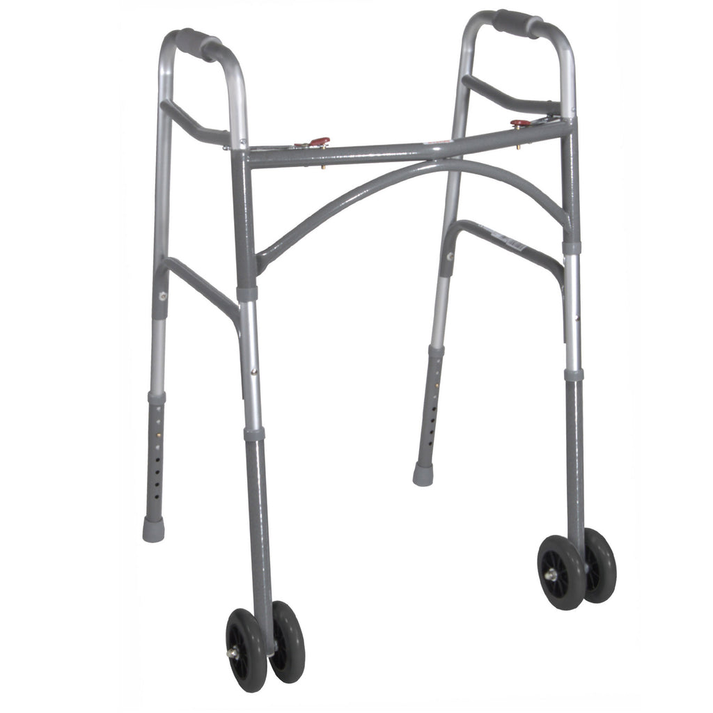 Heavy Duty Bariatric Two Button Walker with Wheels
