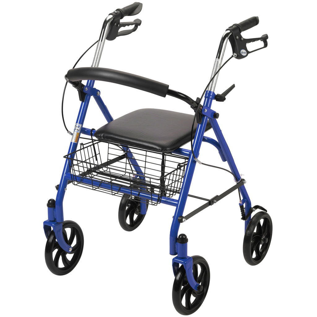 Four Wheel Rollator Rolling Walker with Fold Up Removable Back Support