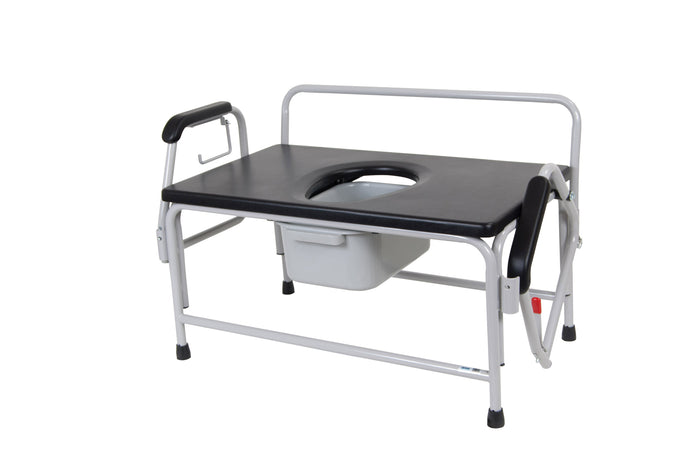 Bariatric Extra Wide Drop Arm Bedside Commode