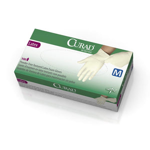 CURAD Powder Free Textured Latex Exam Gloves, X-Small, 100 Each / Box