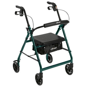 "Rollator Rolling Walker with 6"" Wheels, Fold Up Removable Back Support and Padded Seat"