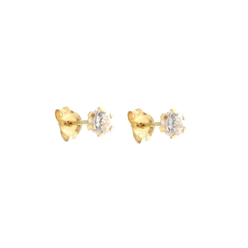 Girl earrings light point in 18 kt Yellow Gold - 750/000 with zircon
