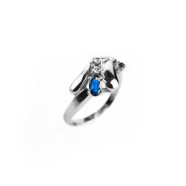 18 kt white gold woman ring 750 0,35 ct sapphires and 0,05 ct diamonds below cost promise ring gold woman engagement ring